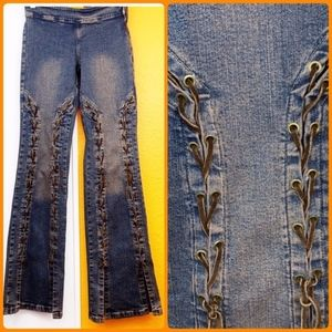 LACE UP HIPPIE-CHIC FLARE JEANS